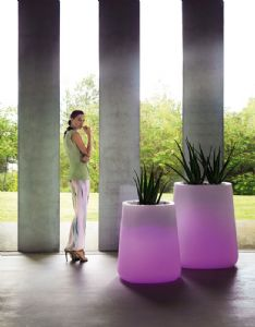 Gorgeous designer illuminated planters with curved edges and easy watering system online at potstore.co.uk